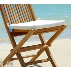 coussins blancs en toile pour chaises et fauteuils pliants en teck