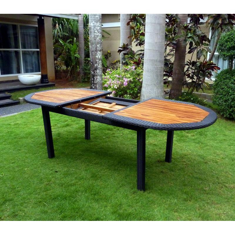 Table en teck en r sine tress e pour votre jardin - Table de jardin en teck prix ...