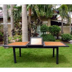 Table de jardin en teck et résine : modèle Flores ratan