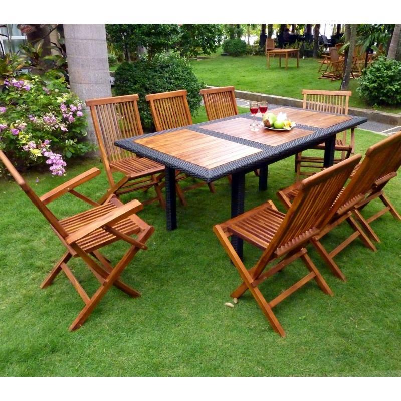 Mobilier de jardin en teck et r sine salon de jardin 8 places - Mobilier jardin en teck bordeaux ...