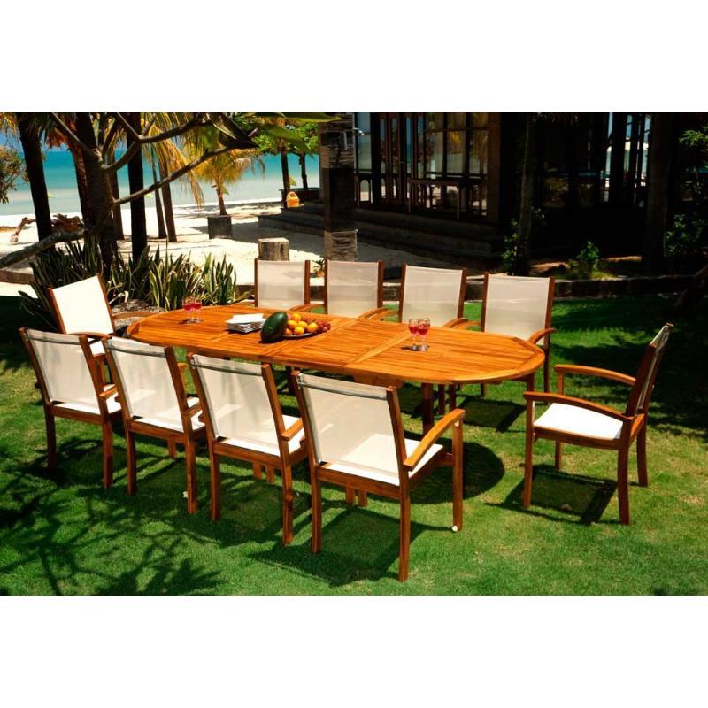 Salon de jardin en teck huil 10 fauteuil teck et textile batyline wood en stock - Huile de teck ...