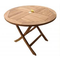 Table de jardin pliante en teck brut - diametre 100 cm