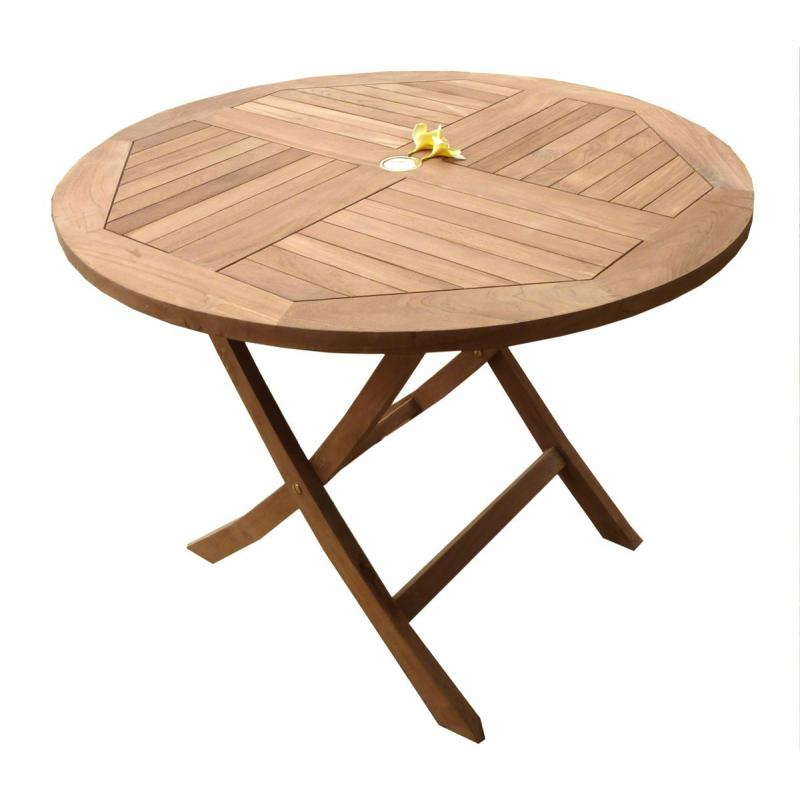 Table de jardin plainte en teck brut table ronde en teck for Table pliante en teck