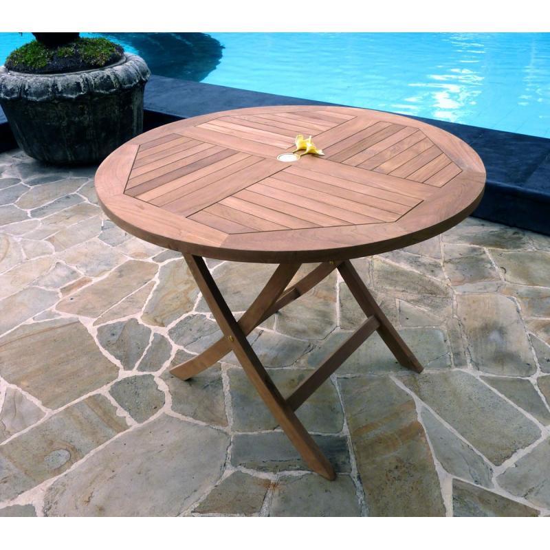 table ronde 100 cm great table de jardin plainte en teck. Black Bedroom Furniture Sets. Home Design Ideas