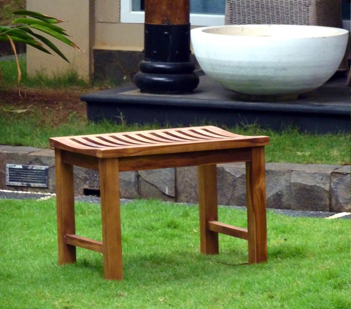 Banc en teck de jardin 60 cm teck huile for Banc de jardin teck anglais