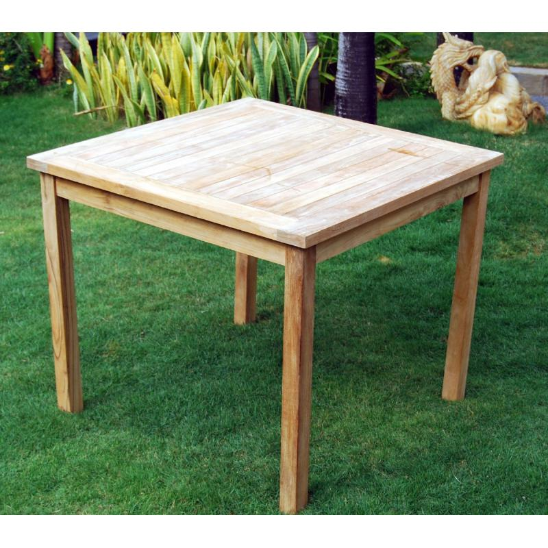 Table de jardin en teck brut table carr e en teck 90 cm - Table jardin en teck ...