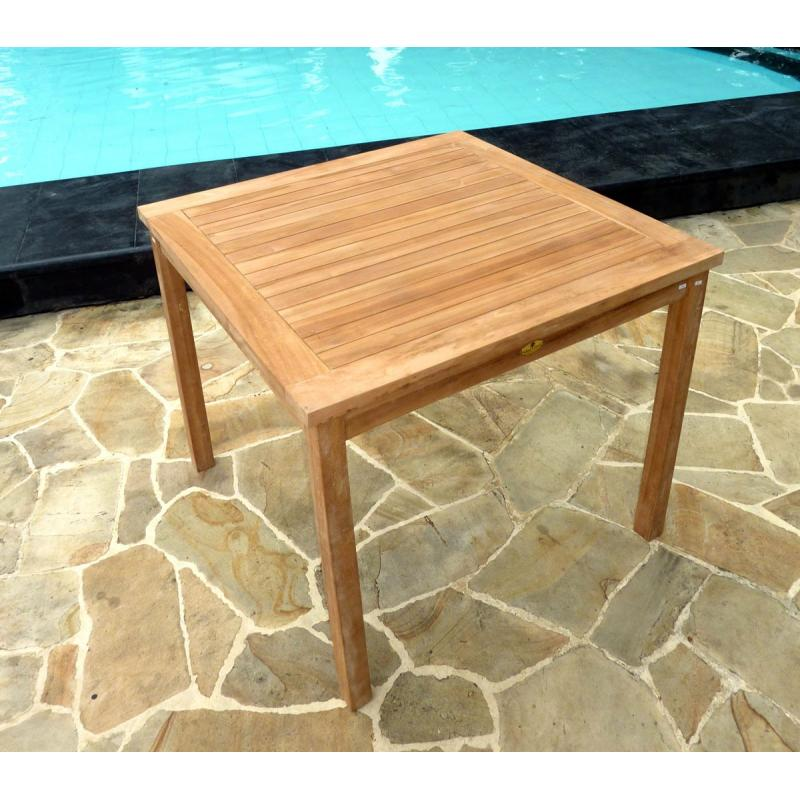 Table de jardin en teck brut table carr e en teck 90 cm for Table jardin en teck