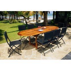 Ensemble extérieur table java 240cm et 8 chaises Fidji pliantes
