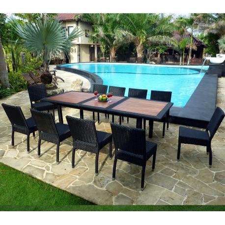 mobilier de jardin en teck et resine tressee ensemble de jardin 10 chaises en resine. Black Bedroom Furniture Sets. Home Design Ideas