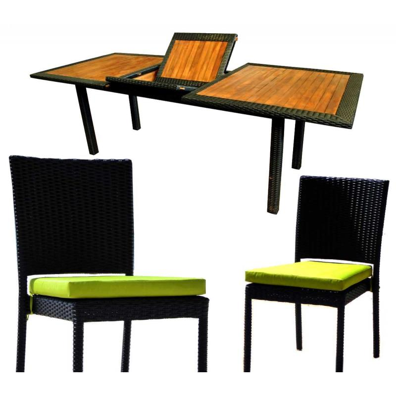 mobilier de jardin en teck et resine tressee ensemble de jardin 10 chaises en resine. Black Bedroom Furniture Sets. Home Design Ideas