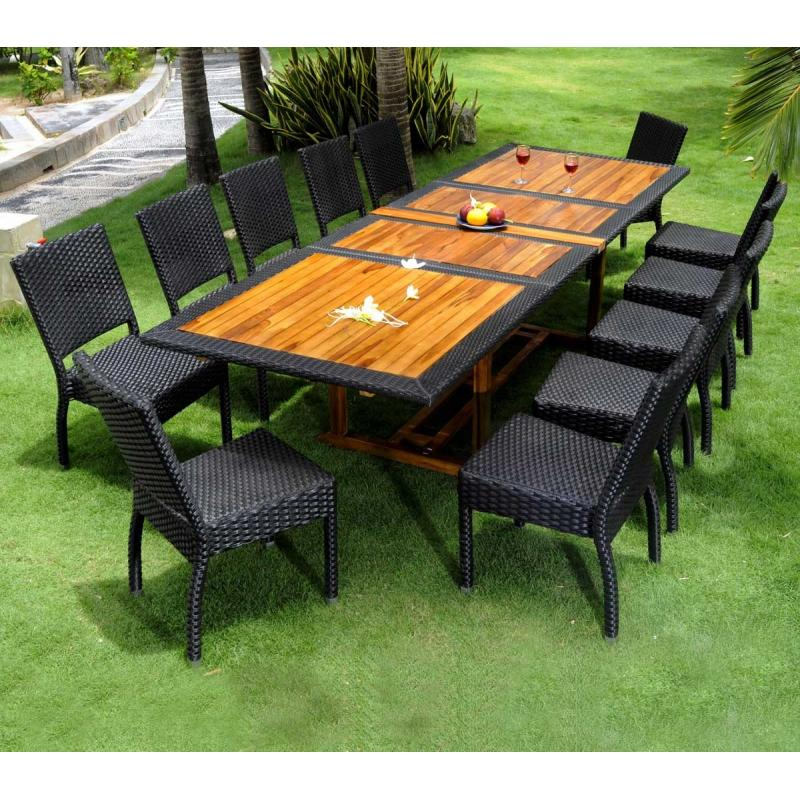 Mobilier de jardin en teck good table teck lcm with - Salon jardin resine tressee castorama ...