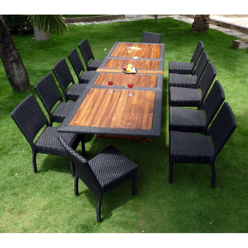 salon de jardin teck et resine tressee ensemble pour 12 personnes. Black Bedroom Furniture Sets. Home Design Ideas