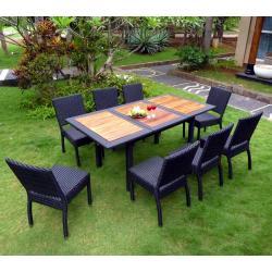 mobilier de jardin teck et résine 8 places Lombok Rattan