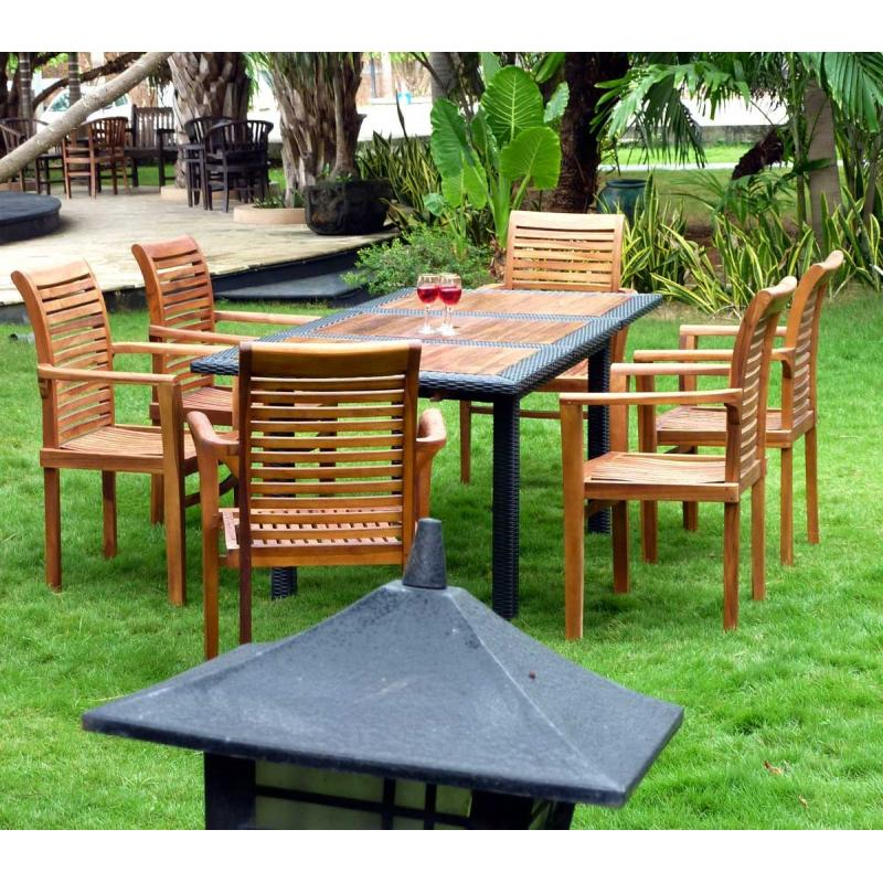 Salon de jardin en teck wood en stock for Salon de jardin pliable pas cher