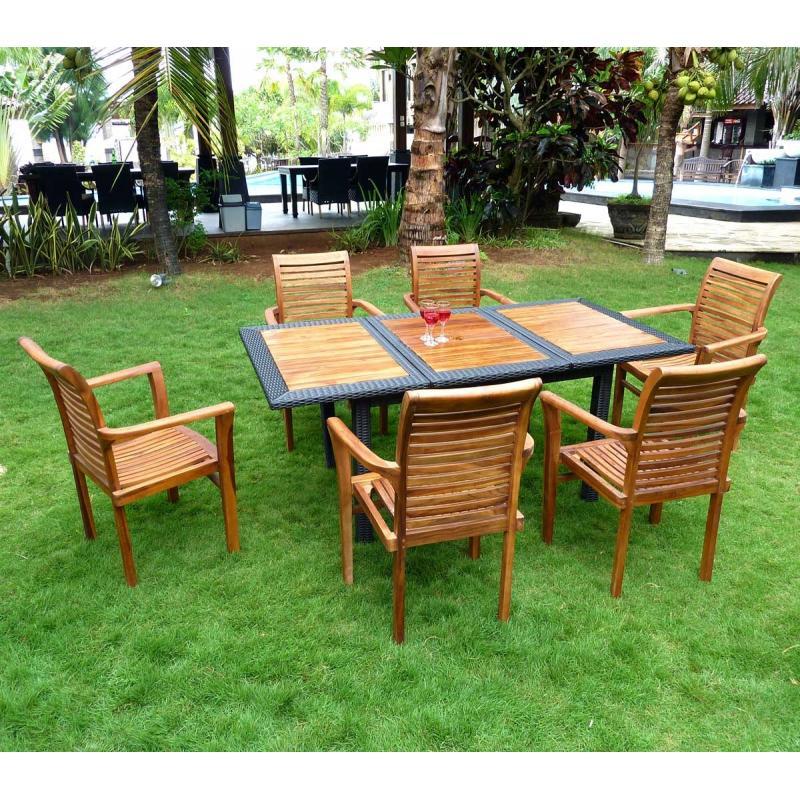 Salon de jardin en teck et r sine tress e 6 fauteuils en for Meuble de jardin teck