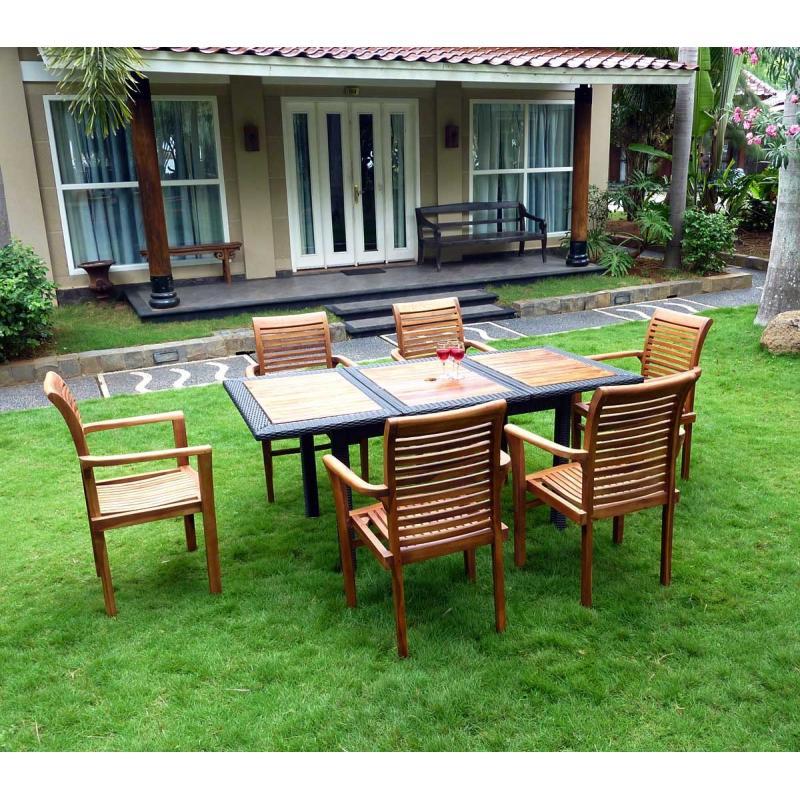 Salon de jardin en teck et résine tressée 6 fauteuils en teck Rja