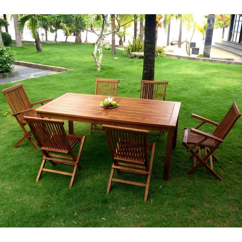 Salon de jardin en teck huil ensemble de jardin pas cher for Salon de jardin 6 places