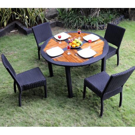 Ensemble de jardin - table ronde de jardin + 4 chaises résine