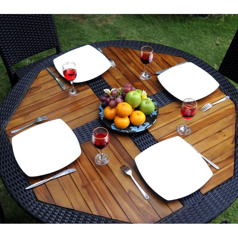 Ensemble table ronde de jardin en teck et chaises de for Ensemble table et chaise de jardin grosfillex