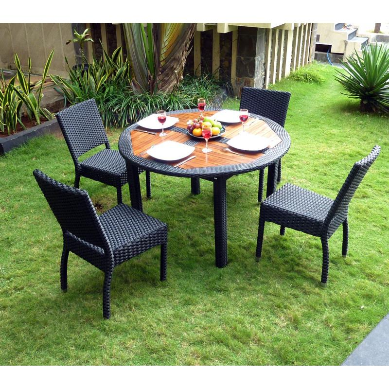 Ensemble table ronde de jardin en teck et chaises de for Ensemble table ronde 4 chaises