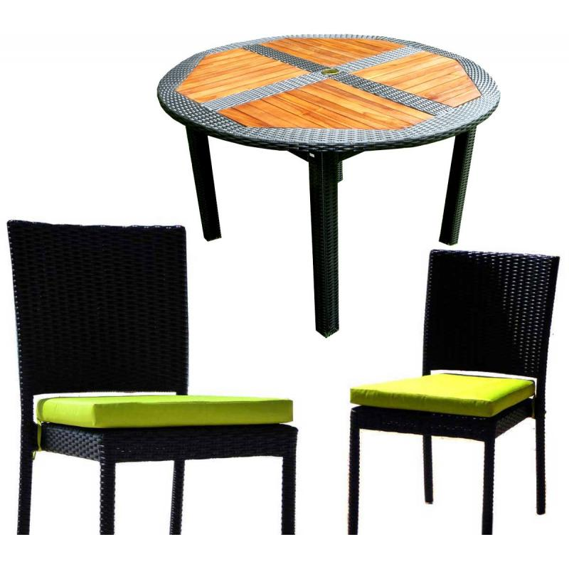 ensemble table ronde de jardin en teck et chaises de jardin en r sine. Black Bedroom Furniture Sets. Home Design Ideas
