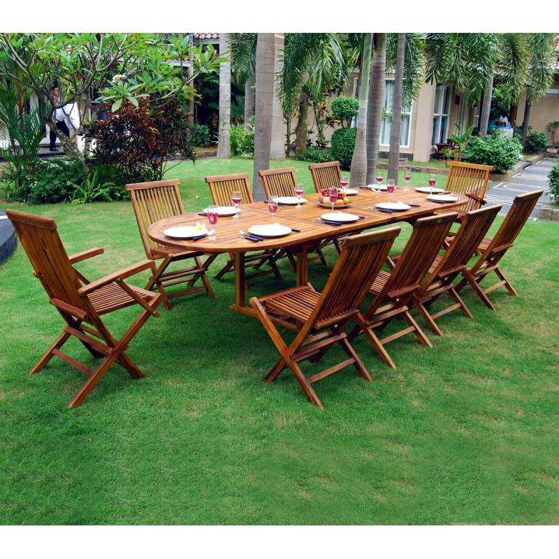 Salon en teck meublez de jardin table 12 places - Table de jardin en teck ...