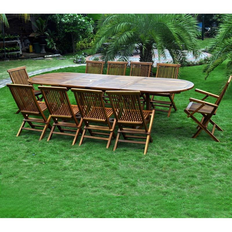 Salon en teck meublez de jardin table 12 places - Table jardin en teck ...