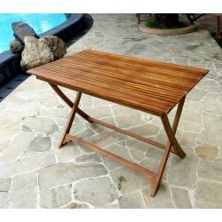 Table pliante de jardin en teck huilé - 120 - 70 cm : Horta