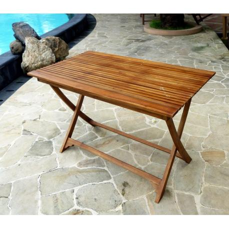 Table pliante de jardin en teck huilé - 120 - 70 cm