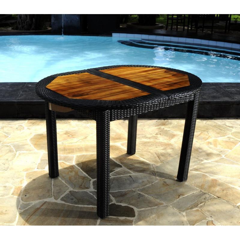 Table de jardin en teck en r sine tress e tr s tendance - Table en resine ...