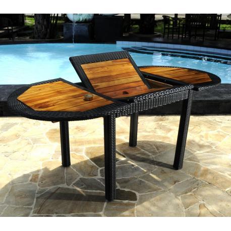 Table de jardin en teck et résine : modèle Bali ratan