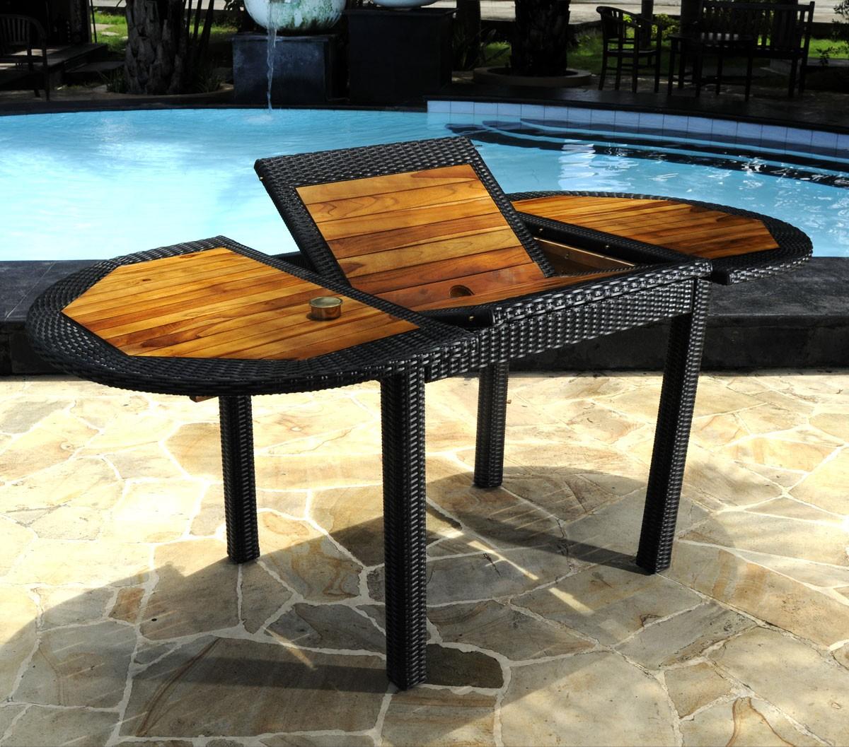 table de jardin en teck en r sine tress e tr s tendance. Black Bedroom Furniture Sets. Home Design Ideas