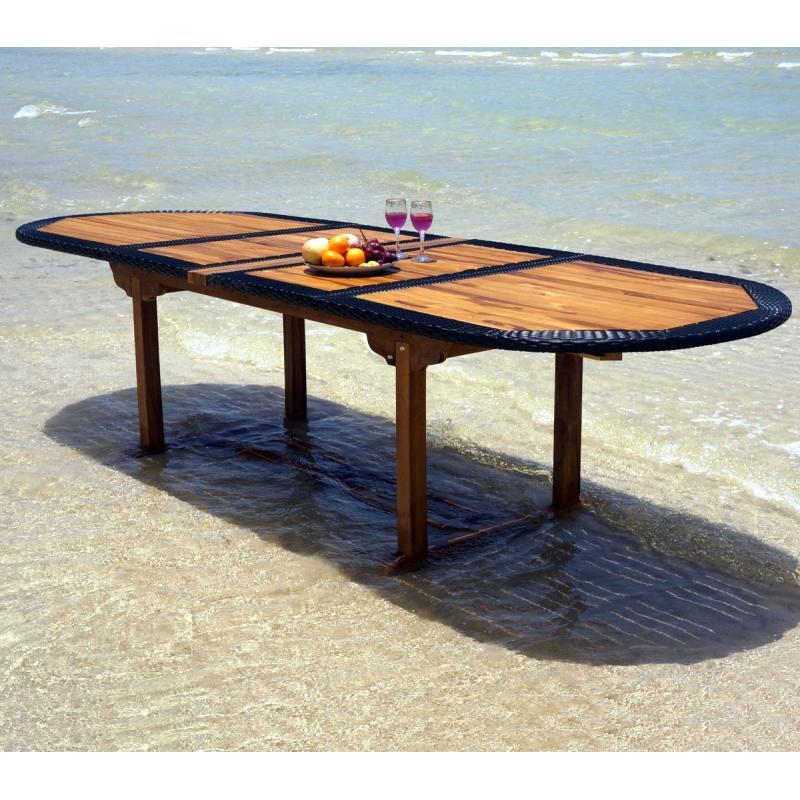 table en teck en r sine tress e de grande taille pour votre jardin. Black Bedroom Furniture Sets. Home Design Ideas