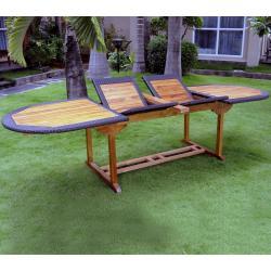 Table de jardin en teck et résine : modèle Sumatra ratan