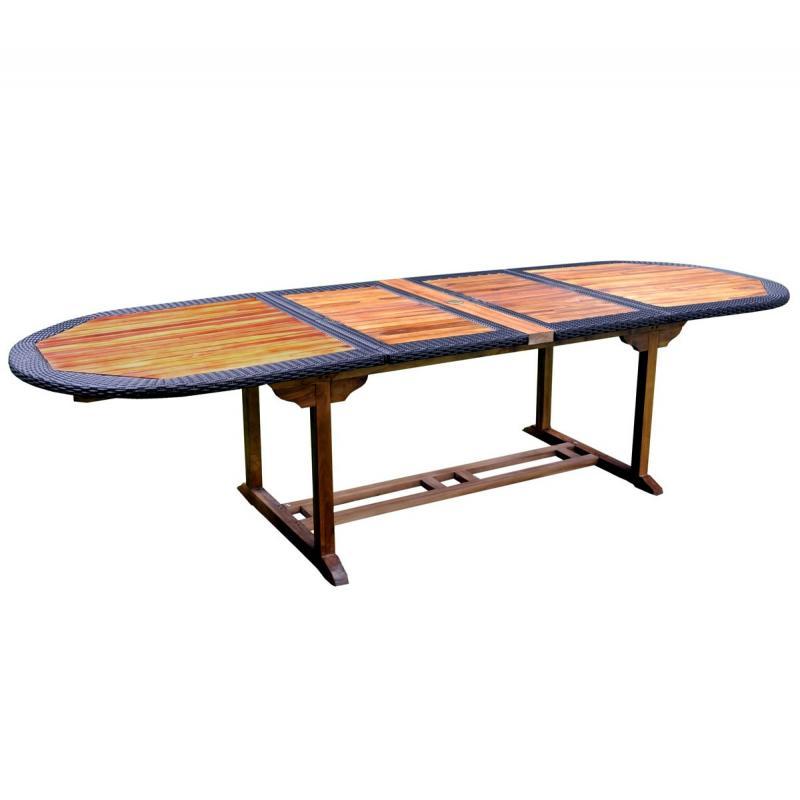 Table en teck en r sine tress e de grande taille pour votre jardin - Table jardin teck soldes paris ...