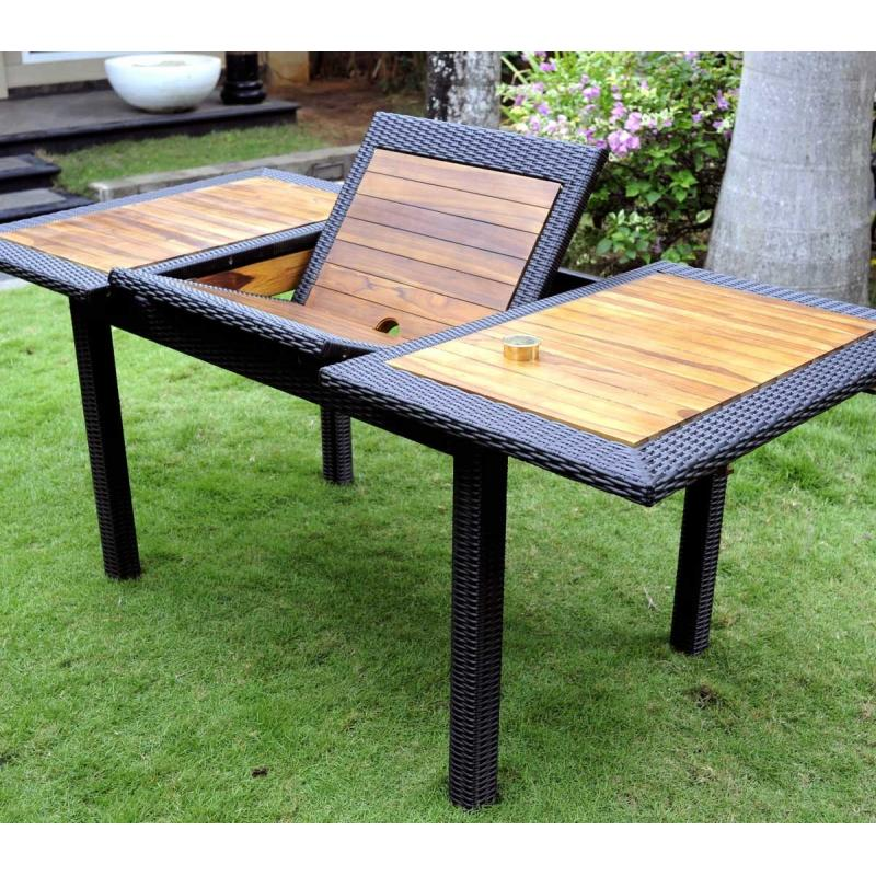 table de jardin en teck en r sine tress e rectangulaire tr s tendance. Black Bedroom Furniture Sets. Home Design Ideas