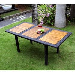 Table de jardin en teck et résine : modèle Lombok ratan