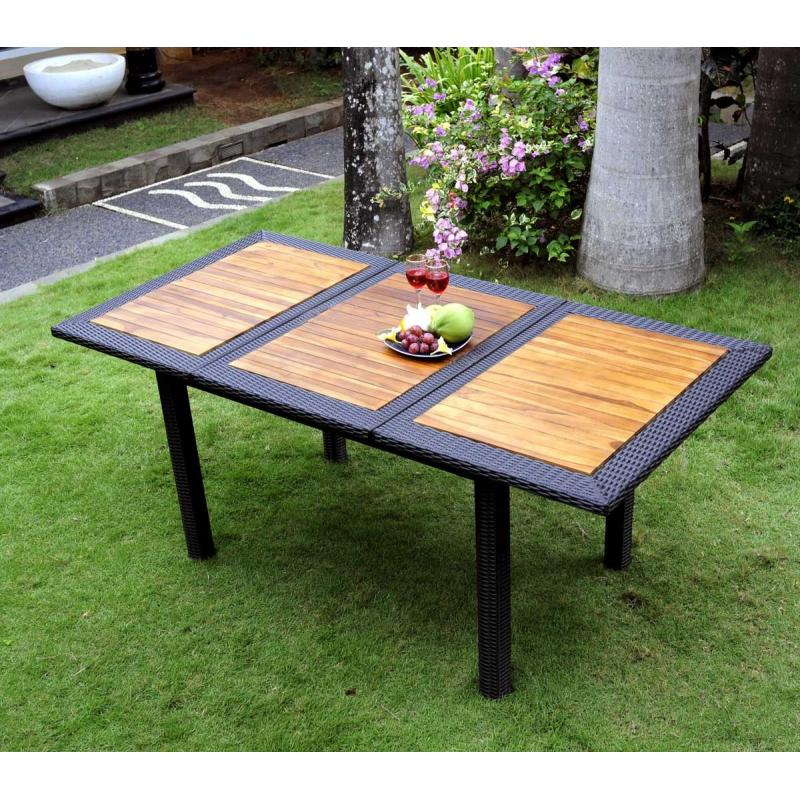 table de jardin en teck en r sine tress e rectangulaire. Black Bedroom Furniture Sets. Home Design Ideas