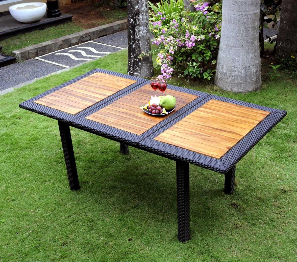 Table de jardin en teck en r sine tress e rectangulaire for Table tressee jardin