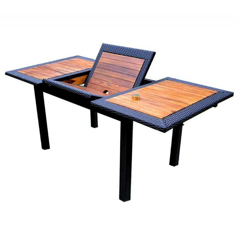 Table de jardin en teck en r sine tress e rectangulaire - Table en resine ...