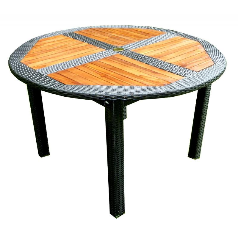 Table de jardin en teck en r sine tress e ronde pliante for Housse de table de jardin en resine