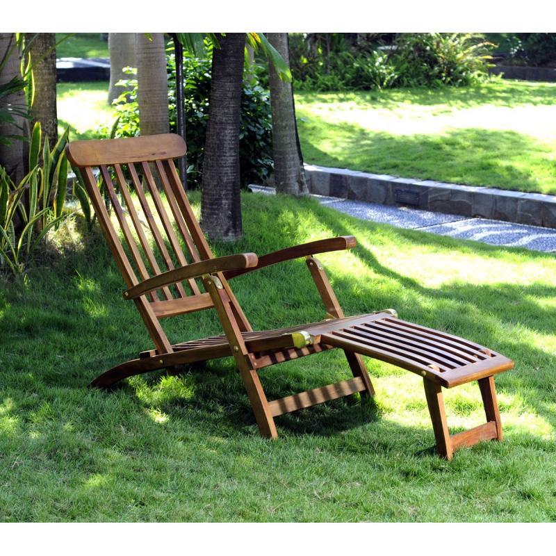Chaise longeu en teck transat de jardin for Chaise longue teck jardin