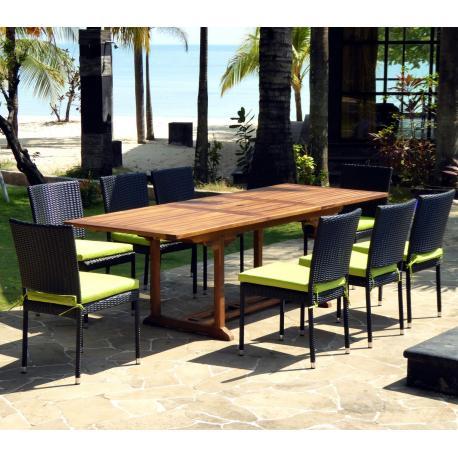 Ensemble de jardin - 10 places - table en teck huilé et 8 chaises en résine tressée