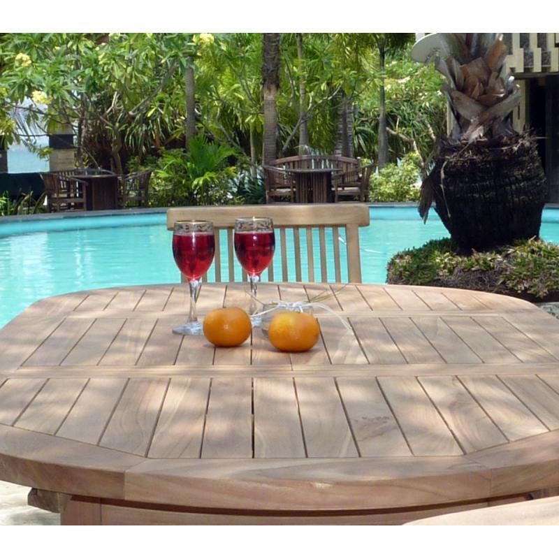 salon en teck naturel pour l 39 exterieur table extensible et 6 chaises pliantes salon prix mini. Black Bedroom Furniture Sets. Home Design Ideas