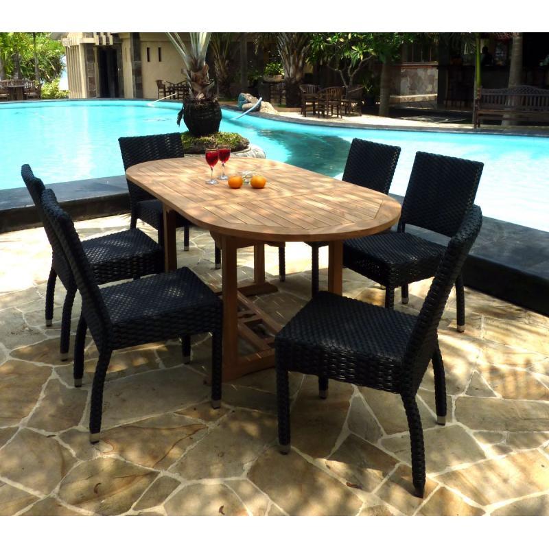 Id al pour cet t salon table ovale extensible en teck - Salon de jardin resine tressee java wood ...