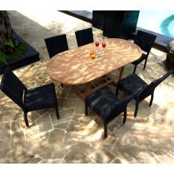 Salon exterieur en teck brut Bali - 6 chaises résine