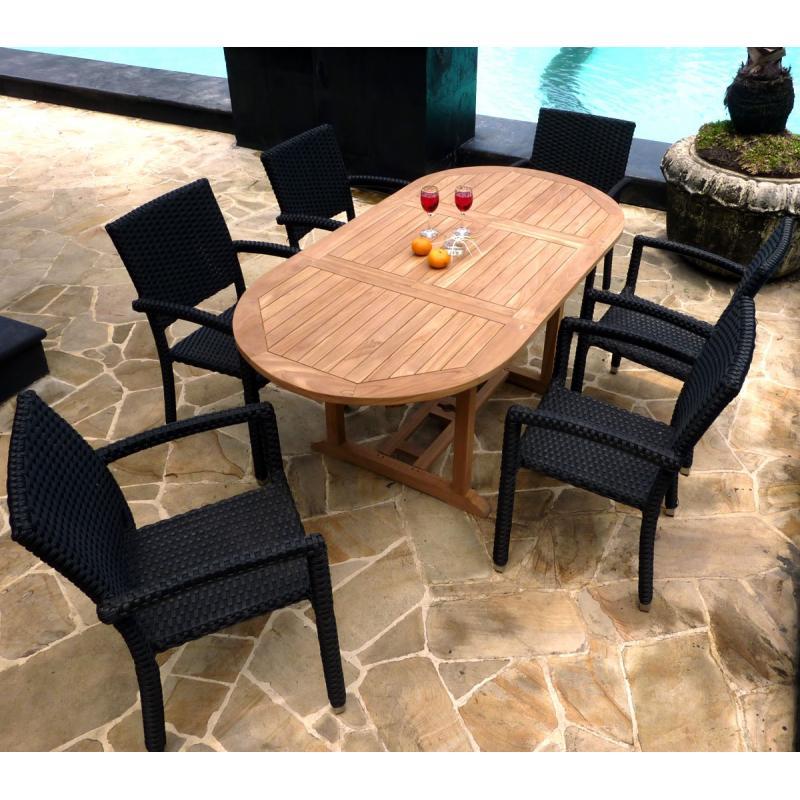 salon de jardin en teck brut ensemble bali 6 fauteuils. Black Bedroom Furniture Sets. Home Design Ideas