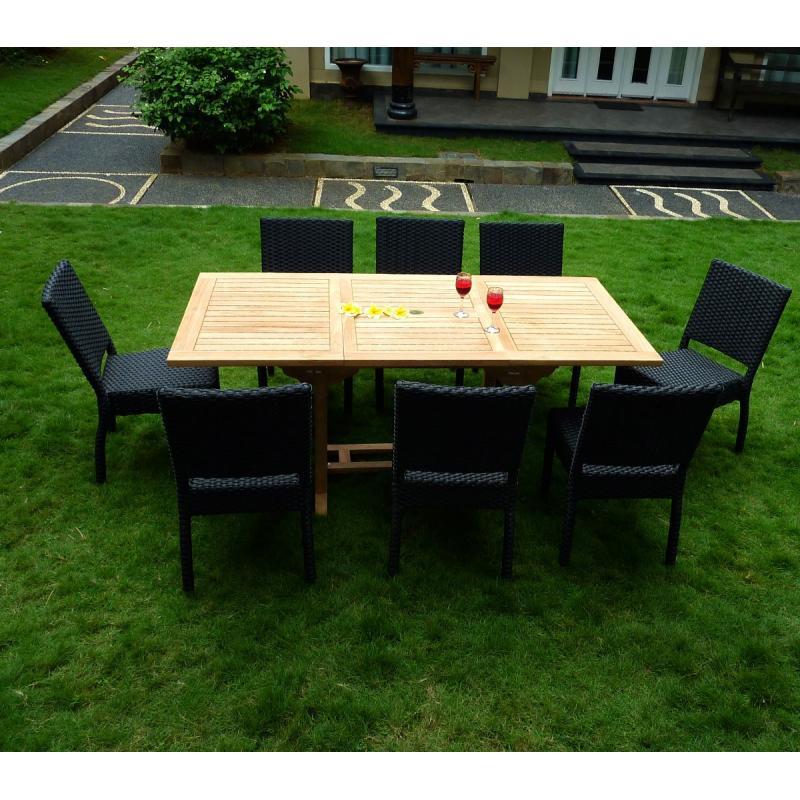 Salon lombok en teck et r sine table extensible teck brut for Meuble de jardin en resine