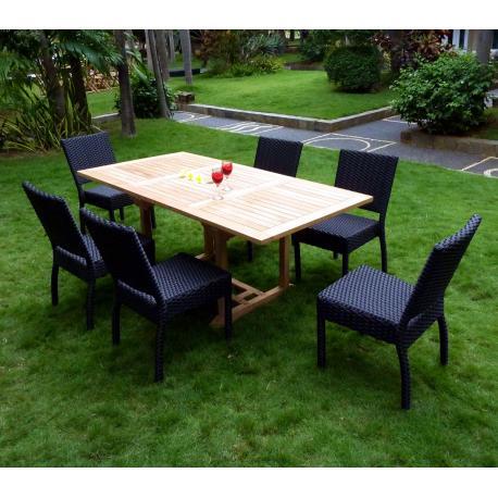 Mobilier de jardin en teck et chaises en résine tressée