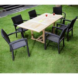 Mobilier d'exterieur en teck naturel : Lombok - 6 fauteuils résine